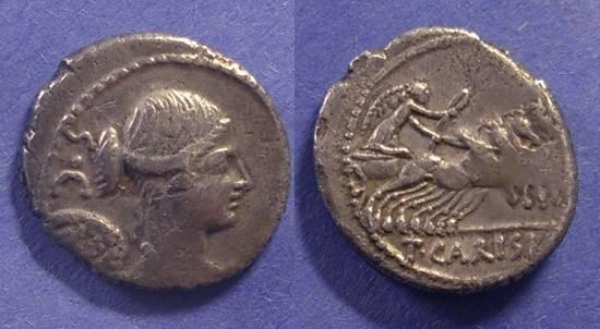 Ancient Coins - Roman Republic, T Carisius 46 BC, Denarius