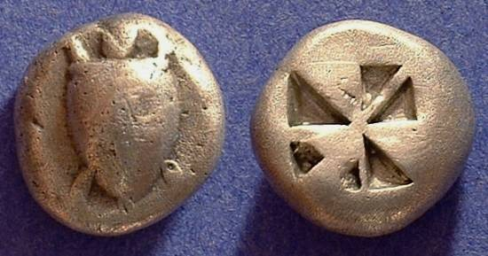 Ancient Coins - Aegina - Stater 525-500 BC - Early Skew reverse