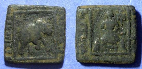 Ancient Coins - Indo-Skythians, Maues 90-60 BC, AE Quadruple unit 21mm