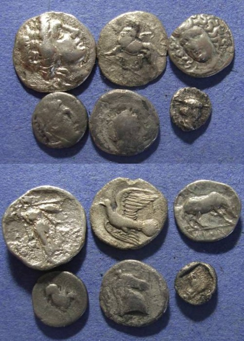 Ancient Coins - Group of 6, Greek Silver coins 470 to 100 BC