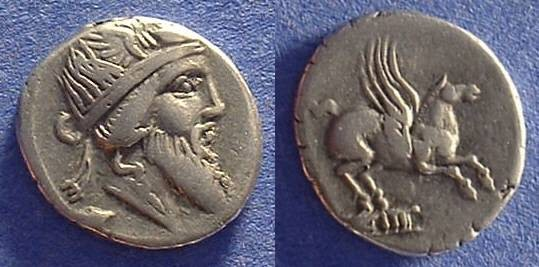 Ancient Coins - Roman Republlic Titia 1 Denarius Circa 90 BC
