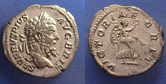 Ancient Coins - Septimius Severus 193-211 Denarius - Victory in Britian reverse