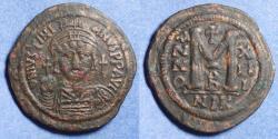 Ancient Coins - Byzantine Empire, Justinian 527-565, Bronze 40mm Follis