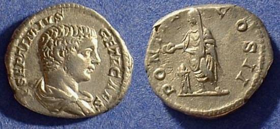 Ancient Coins - Geta as Caesar 198-208AD Denarius
