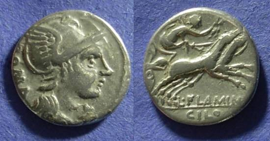Ancient Coins - Roman Republic - L Flaminius Chilo Denarius 109/108 BC