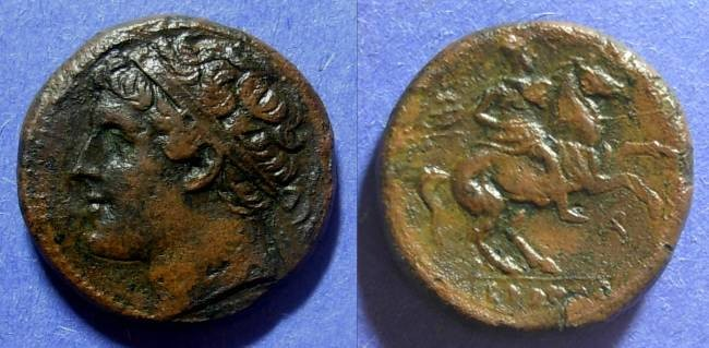 Ancient Coins - Syracuse Sicily Hieron II 275-215 BC AE 25