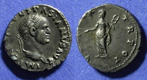 Ancient Coins - Roman Empire, Vespasian 69-79 AD, Denarius
