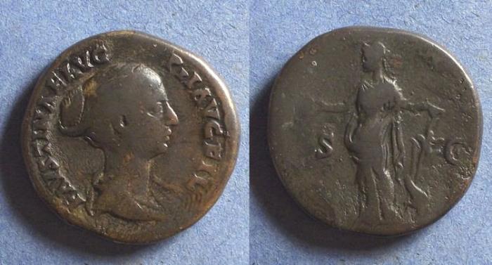 Ancient Coins - Roman Empire, Faustina Jr. d. 175, Sestertius