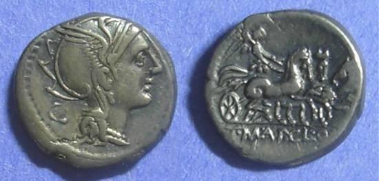 Ancient Coins - Roman Republic T Manlius Mancinus 111-110 BC Denarius