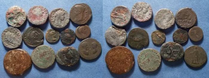 Ancient Coins - 15 Roman Provincial coins,  Circa 50 to 250 AD,