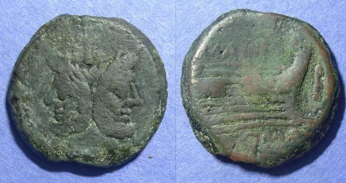 Ancient Coins - Roman Republic, M Atilius Saranus 148 BC, As
