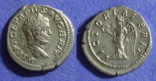 Ancient Coins - Roman Empire – Geta (as Augustus) 208-212 – Denarius