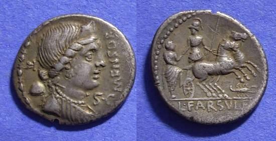 Ancient Coins - Roman Republic Farsuleia 1 Denarius 75 BC