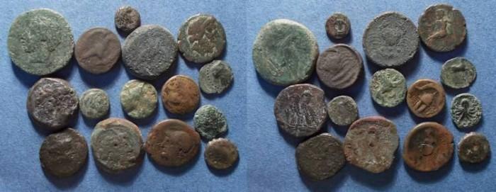 Ancient Coins - 15 Greek Bronze coins,  Circa 400-100 BC,