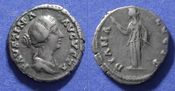 Ancient Coins - Roman Empire, Faustina Jr (Wife of M. Aurelius) d. 175, Denarius
