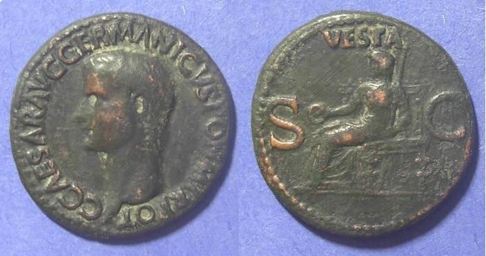 Ancient Coins - Roman Empire, Caligula 37-41 AD, Aes