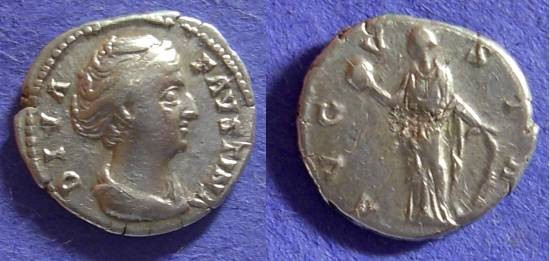 Ancient Coins - Faustina Sr (Wife of A. Pius)- D.141 -Denarius