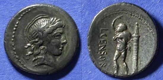 Ancient Coins - Roman Republic, L Censorinus 82 BC, Denarius