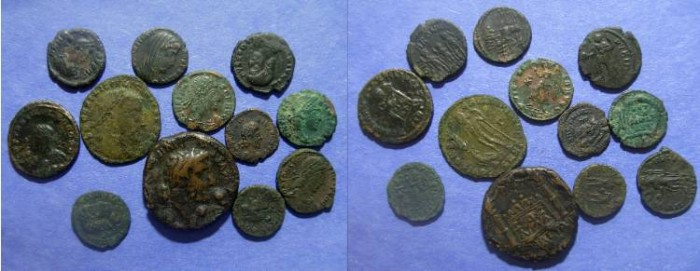Ancient Coins - Roman Empire, 12 Bronze coins 14 to 423 AD, Dupondius to AE4