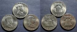 Us Coins - United States,  1950D,61D & 62D, Three Franklin Halves
