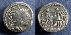 Ancient Coins - Roman Republic, C Fundanius 101 BC, Denarius