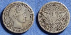 Us Coins - United States,  1909-S, Silver Barber Quarter