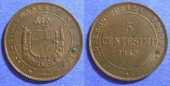 World Coins - Italy - Tuscany - 2nd Provisional Government of 1859-61 - 5 Centesimi 1859