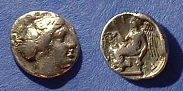 Ancient Coins - Terina Bruttium Triobol Circa 375 BC