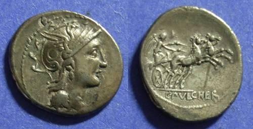 Ancient Coins - Roman Republic C Claudius Pulcher 110-109 BC Denarius