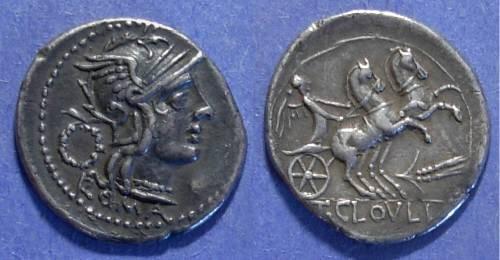 Ancient Coins - Roman Republic, T Cloelius 128 BC, Denarius