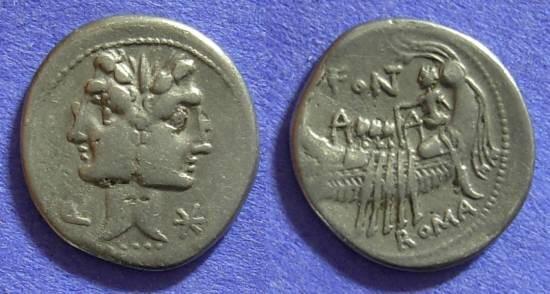 Ancient Coins - Roman Republic - C Fonteius - Denarius 114-113BC