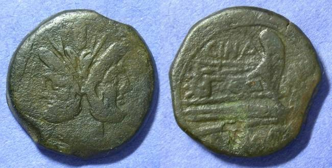 Ancient Coins - Roman Republic Aes 169-157BC