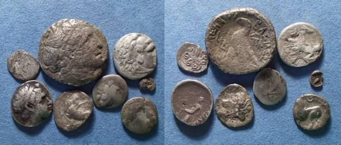 Ancient Coins - 8 Greek/Celtic Silver coins,  Circa 500-50 BC,