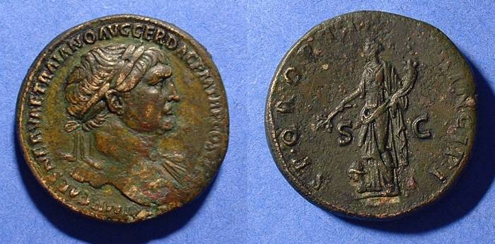 Ancient Coins - Trajan 98-117AD Sestertius