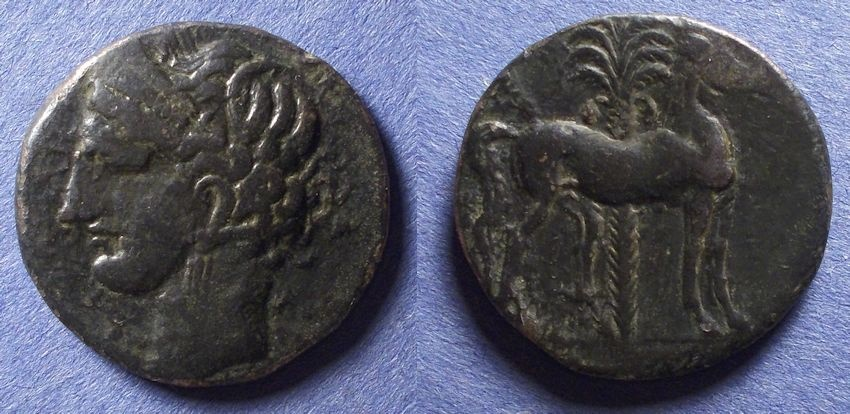 Ancient Coins - Zeugitania, Carthage 215-201 BC, 3 Shekel