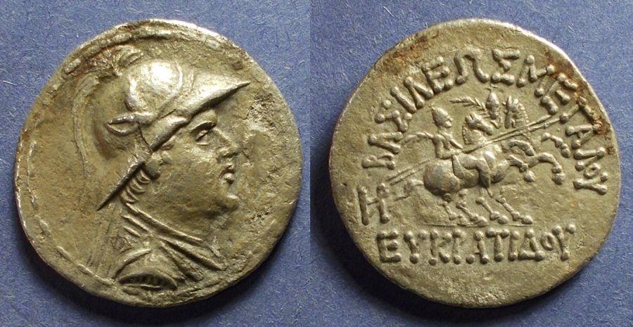 Ancient Coins - Bactria, Eukratides 171-145 BC, Tetradrachm
