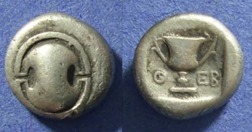 Ancient Coins - Boeotia, Thebes 425-375 BC, Hemidrachm