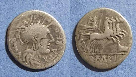 Ancient Coins - Roman Republic, Q Fabius Labeo 124 BC, Denarius