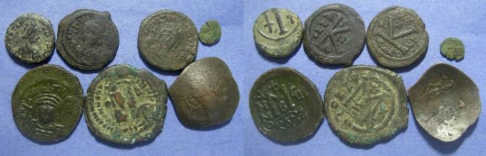 Ancient Coins - 7 Byzantine Bronze coin, 6th to 12th century ,