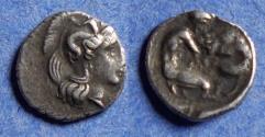 Ancient Coins - Calabria, Taras 380-325 BC, Silver Diobol