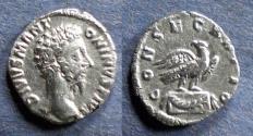 Ancient Coins - Roman Empire, Divo Aurelius d. 180, Denarius