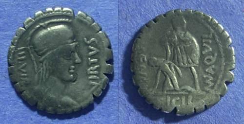 Ancient Coins - Roman Republic – Mn. Aquillius Mn.f. Mn.n. 65 BC. Serrate Denarius