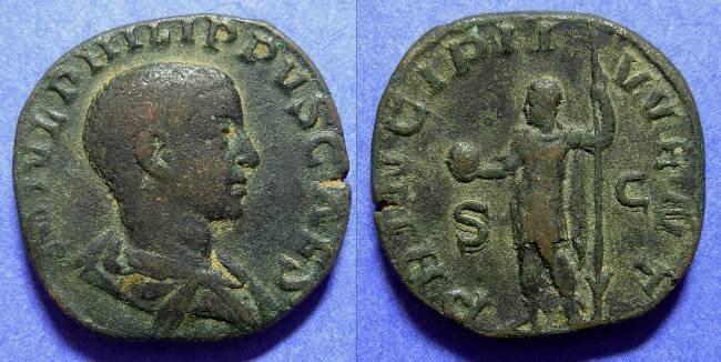 Ancient Coins - Philip II (Caesar) 244-7 AD Sestertius