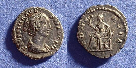 Ancient Coins - Faustina Jr. (Wife of Aurelius) Died 175.  Denarius