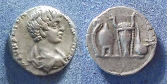 Ancient Coins - Roman Empire, Caracalla (as Caesar) 196-8, Denarius