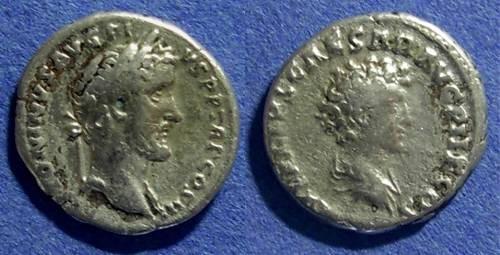 Ancient Coins - Roman Empire, Antoninus Pius & Marcus Aurelius 138-161 AD, Denarius
