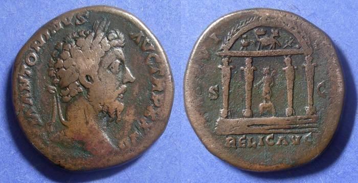 Ancient Coins - Roman Empire, Marcus Aurelius 161-180, Sestertius