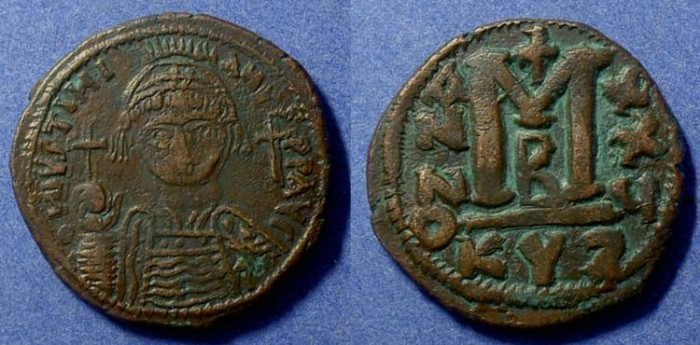 Ancient Coins - Justinian I 527-565 - Follis of the Cyzicus mint (33mm)