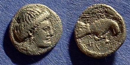 Ancient Coins - Chalkis Euboia - Circa 330BC Hemidrachm