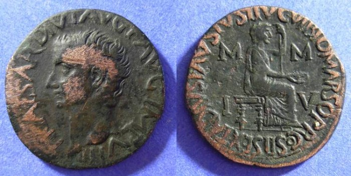 Ancient Coins - Tiberius 14-37AD - AE 29 of Utica Zeugitana